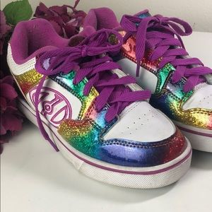 Heelys Skate Shoes Rainbow Glitter Girls Size 4